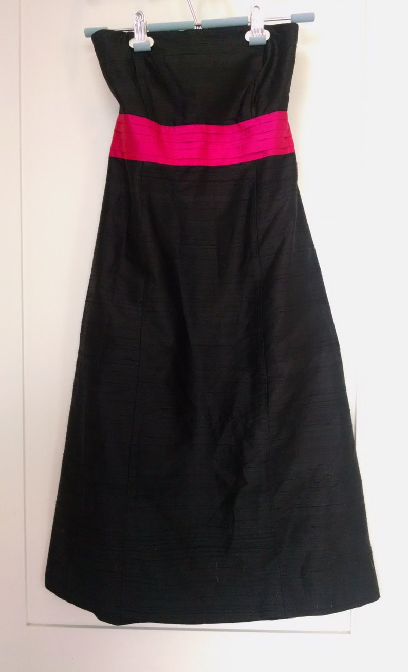 Size 2 Hot Pink and Black XS. Strapless Black Silk Dress 1980/'s Knee Length Dress with Back Cutout Tie By Molly B