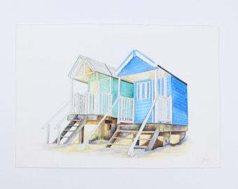 Blue and Green beach hut