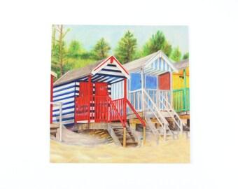 Red striped beach hut