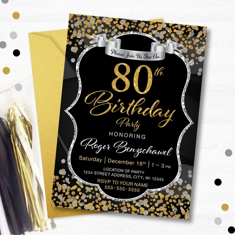 80th Birthday Party Invitation 70th 60th