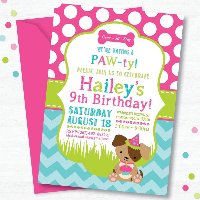 Puppy Birthday Party Invitation Dog Birthday Party Etsy