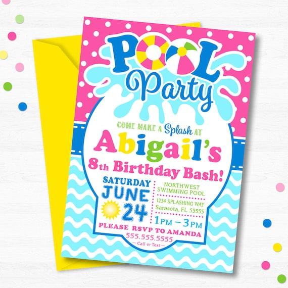 Pool Birthday Party Invitation Pool Party Invitation Etsy