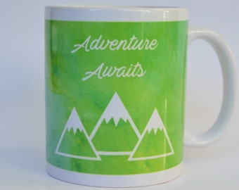 Adventure Awaits Coffee Mug,  Mountains Coffee Mug, Outdoors Gift, Gift for Hiker, Biker, Gift for Her, Gift for Him, Camping Gift, Birthday