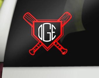 Baseball or Softball Monogram Decal - Monogrammed Softball or Baseball Sticker - Car Decals, Yeti Personalization, Laptop Decals