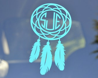Monogram Dream Catcher - Yeti Decal - Dream Catcher - Car Decal - Personalized Dream Catcher - Vinyl Decal - Dream Catcher Monogram Decal