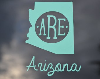 Arizona Decal, State Decal, Arizona Monogram, State Decal, State Sticker, State Monogram, Decal Arizona, Car Decal, Sweet 16, Gift for Her
