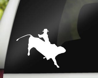 Bull Rider Decal, Cowboy Decal, Bull Riding Decal, Rodeo Car Decal, Bull Riding Car Decal, Bull Rider, Cowboy Decal, Vinyl Decal, Sticker