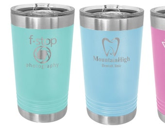 Stainless Steel Pint Tumbler Personalized, Custom Travel Tumbler, To Go Coffee Mug, Laser Engraved Tumbler, Insulated Cup, Custom Tumbler