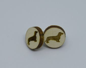 Dachshund Earrings, Dachshund Studs, Wood Wiener Dog Earrings, Any Breed of Dog, Pet earrings, Dog Earrings, Dog Jewelry