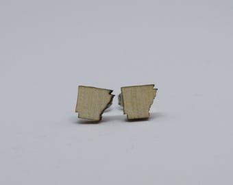 Arkansas Earrings, Wood Earrings, Arkansas Jewelry, Wood Studs, Wooden Earrings, Arkansas Gift, Valentine's Day Gift, Gift for Her
