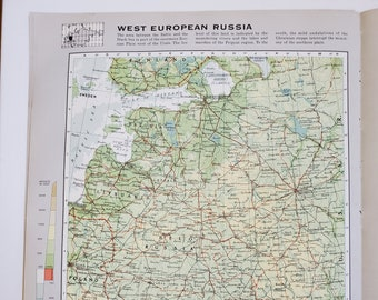 Vintage Map of West European Russia, 1963 Atlas Map, Vintage Map for Framing, Vintage Russia Map, Russia Atlas, Travel Wall Decor