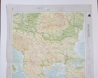 Vintage Map of the Balkans, 1963 Atlas Map, Vintage Map for Framing, Vintage Balkans Map, Travel Wall Decor