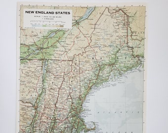 Vintage Map of New England, 1963 Atlas Map, Vintage Map for Framing, Vintage New England Map, New England Atlas, Travel Wall Decor