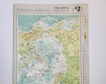 Vintage Map of The Arctic , 1963 Atlas Map, Vintage Map for Framing, Vintage Arctic Map, Travel Wall Decor