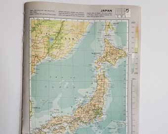 Vintage Map of Japan, 1963 Atlas Map, Vintage Map for Framing, Vintage Japan Map, Japan Atlas, Travel Wall Decor