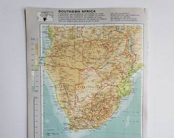 Vintage Map of South Africa, 1963 Atlas Map, Vintage Map for Framing, Vintage South Africa Map, South African Atlas, Travel Wall Decor