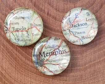 Custom Vintage Map Glass Magnet, Map Cabochon Magnet, Your City Magnet, Vintage Map Cabochon Magnets, Travel Gifts, Travel Markers