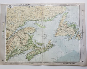 Vintage Map of Canada, 1963 Atlas Map, Vintage Map for Framing, Vintage Canada Map, Canada Maritime Vintage Map, Travel Wall Decor
