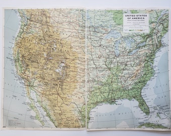Vintage Map of the United States, 1963 Atlas Map, Vintage Map for Framing, Vintage USA Map, Travel Wall Decor