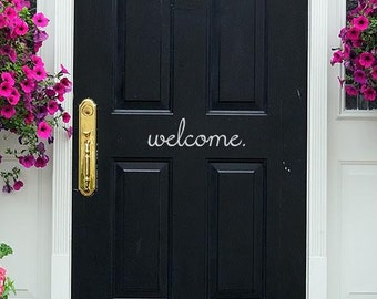Welcome Door Vinyl Decal - Welcome Front Door Sticker - Welcome Door Decal - Welcome Sticker - Vinyl Door Decor