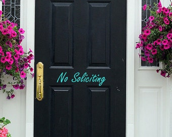 No Soliciting Door Decal - No Soliciting Vinyl Decal