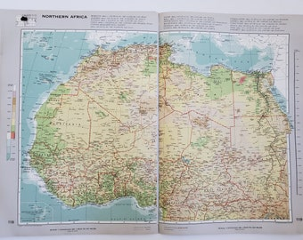 Vintage Map of Northern Africa, 1963 Atlas Map, Vintage Map for Framing, Vintage North Africa Map, Africa Atlas, Travel Wall Decor, Africa