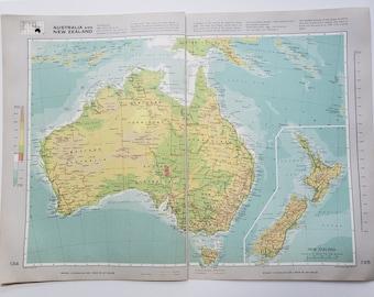 Vintage Map of Australia and New Zealand, 1963 Atlas Map, Vintage Map for Framing, Vintage Australia Map, Australia Atlas, Travel Wall Decor