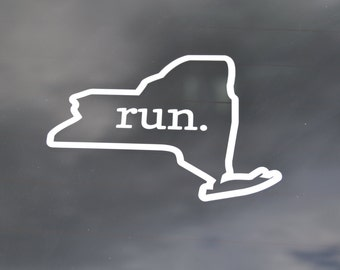 Run New York Decal - New York Decals - Run New York Sticker - Run NY Decal - NY Car Decals - NY Stickers - Runner State Decal