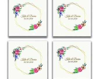 Personalized Photo Coasters, Custom Photo Coasters, Christmas Gift, Custom Picture Coasters, Custom Glass Coasters, Modern Floral Coasters