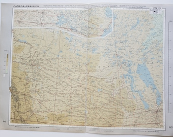 Vintage Map of Saskatchewan, 1963 Atlas Map, Vintage Map for Framing, Vintage Canada Map, Alberta Vintage Map, Travel Wall Decor, Manitoba