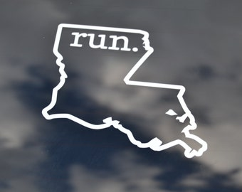 Run Louisiana Decal - Run Louisiana Decals - Louisiana Runner - Louisiana Marathon - Louisiana 26.2 - Louisiana State Decal - Louisiana