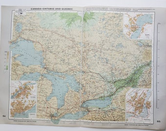 Vintage Map of Ontario and Quebec, 1963 Atlas Map, Vintage Map for Framing, Vintage Quebec Map, Ontario Vintage Map, Travel Wall Decor