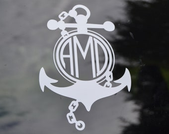 Anchor Monogram Decal - Navy Wife - Navy Life - Nautical Decal - Tugboat Wife - Anchor Decal