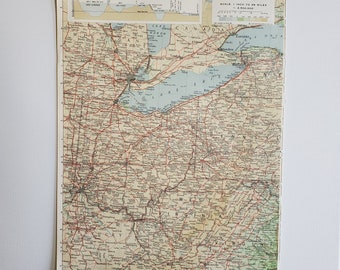 Vintage Map of Ohio, Ohio Vintage Map, 1963 Atlas Map, Vintage Map for Framing, West Virginia Vintage Atlas, Travel Wall Decor, Lake Eerie