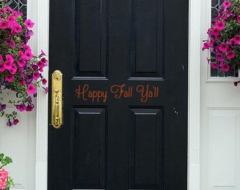 Happy Fall Y'all Door Decal | Fall Door Decal | Handmade in Harrisburg