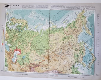 Vintage Map of the USSR, 1963 Atlas Map, Vintage Map for Framing, Vintage USSR Map, USSR Atlas, Travel Wall Decor