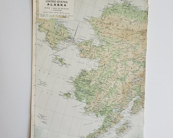 Vintage Map of Alaska, Bristol Bay Vintage Map, 1963 Atlas Map, Vintage Map for Framing, St. Lawrence Vintage Atlas, Bering Sea Map