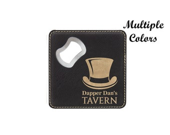 Personalized Coaster Bottle Opener, Faux Leather Coaster and Bottle Opener, Custom Engraved Coaster and Bottle Opener