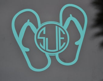 Flip Flop Monogram Decal, Flip Flop Decal, Beach Decal, Flip Flop Decals, Flip Flop Sticker, Beach Car Decal, Flip Flop Car Decals, Monogram