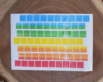 Square Planner Stickers, Watercolor Stickers, Color Code, Highlighter Stickers, 0.5 Inch Rainbow Checklist Dots, Planner Dots