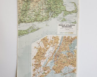 Vintage Map of  Mid-Atlantic Seabord, New York Vintage Map, 1963 Atlas Map, Vintage Map for Framing, NY Vintage Atlas, Travel Wall Decor