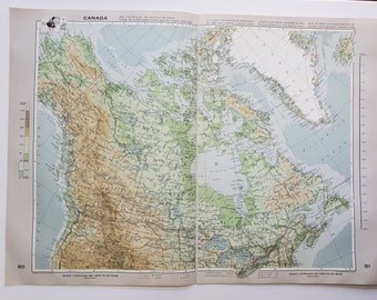 Vintage Map of Canada, 1963 Atlas Map, Vintage Map for Framing, Vintage Canada Map, Hudson Bay Vintage Map, Travel Wall Decor