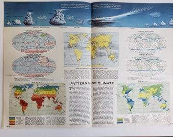 Vintage Climate Map, 1963 Atlas Map, Vintage Map for Framing, Vintage Climate Patterns Map, Travel Wall Decor, Climate Change Art