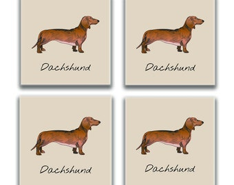 Dachshund Coasters, Glass Dachshund Coasters, Weenie Dog Coaster Christmas Gift, Custom Picture Coasters, Gift for Her, Mom, Dachshund Lover
