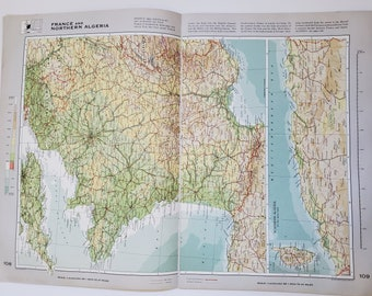 Vintage Map of France and Northern Algeria, 1963 Atlas Map, Vintage Map for Framing, Vintage France Map, France Atlas, Travel Wall Decor