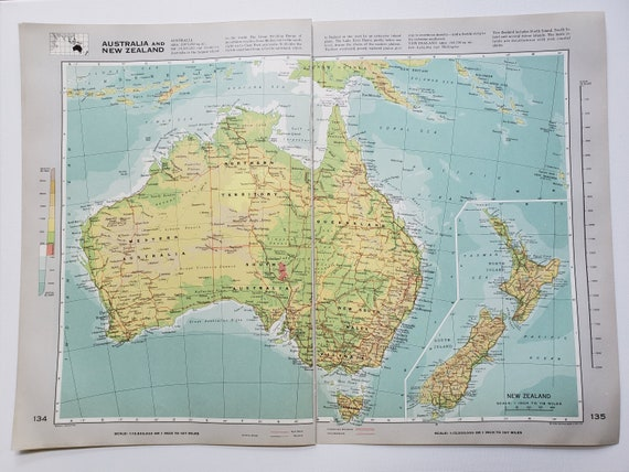 New Zealand Australia Map.Vintage Map Of Australia And New Zealand 1963 Atlas Map Vintage Map For Framing Vintage Australia Map Australia Atlas Travel Wall Decor