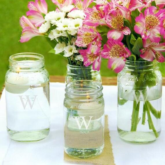 Personalized Engraved Mason Jar Vases Set Of 4 Wedding