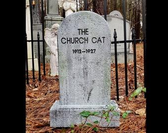 Evil Soul Studios The Church Cat Tombstone Halloween Prop Little Haunters Series Kitten Religious Cemetery Stone