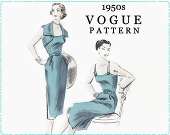 Vogue 7400 1950s Sewing Pattern - Misses One Piece Dress & Bolero - Size 16 Bust 34 Hip 37 - Sundress with Bolero - Special Occasion Dress