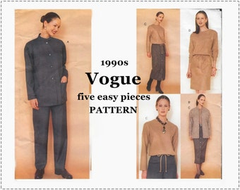 Five Easy Pieces Sewing Pattern - Vintage Vogue 2007 - 1990s Sewing Pattern - Misses' Jacket, Dress, Top, Skirt, Pants - Size 14 16 18 UNCUT